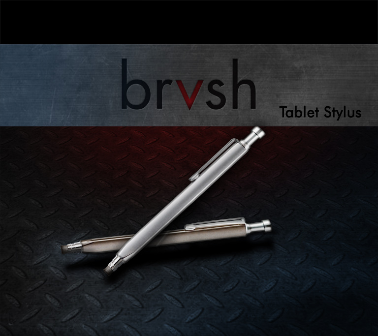 brvsh Tablet Stylus. A beautiful and functional stylus for artists, students, and anyone else that wants to unleash the true potential of their touchscreen device. Works on all capacitive touchscreens, including the iPad, iPod Touch, iPhone, Droid, and most other smartphones and tablet computers.